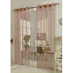 Gardine, Gardinenbox, Ösen (1 Stück), Fadenstore Raumteiler 20304 rosa