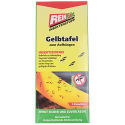 Reinex Insektenstopp Gelbtafel, Insektizidfreie Klebefalle zur Bekämpfung fliegender Insekten, 1 Packung = 5 Stück