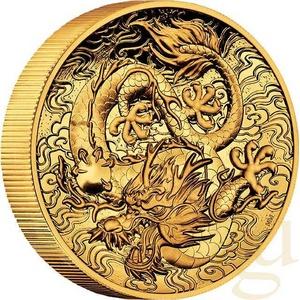 2 Unzen Goldmünze Australien Drache 2021 - High Relief - polierte Platte