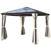 Outsunny Luxus Pavillon 3 x 3 m inkl. Seitenteile braun/natur