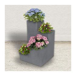 dynamic24 Pflanzentreppe, Blumentreppe, Pflanzkasten, Pflanzkübel, Beton Optik