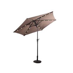 COSTWAY Sonnenschirm LED Gartenschirm, Terrassenschirm, mit Solar-Beleuchtung, φ300 x 245cm, Ohne Standfuß braun