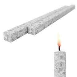 Wachskerze Silbergrau 2-er Set Bio-Stearin - Stabkerze Kommunionkerzen 40 cm - Silbergrau
