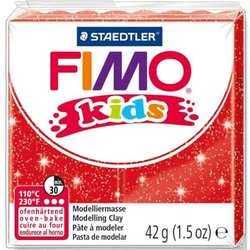 Modelliermasse Fimo Kids rot glitter 42g