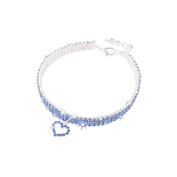 TOPMELON Tier-Halsband, Legierung, Hundehalsband, Kristallkragen & Glänzender Heller Kristalldiamant blau L