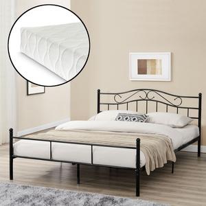 [en.casa]® Metallbett Mit Matratze 160x200cm Schwarz Bett Bettgestell Doppelbett