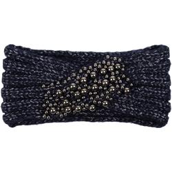 styleBREAKER Stirnband Strick Stirnband mit Twist Knoten und silbernen Perlen Strick Stirnband mit Twist Knoten und silbernen Perlen blau