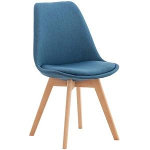 CLP Küchenstuhl Linares, Kunststoff mit Kunstlederbezug blau