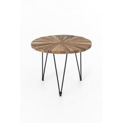 dynamic24 Couchtisch (1-St), Design Teak Couchtisch 60cm Teakholz Tisch Wohnzimmertisch Unikat Holztisch rund
