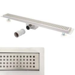 Duschrinne MCW-D94b, Bodenablauf Abflussrinne Duschablauf, Edelstahl Siphon 50-120cm ~ 70cm