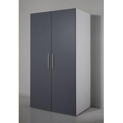 Miniküche mit Kochplatten und Kühlschrank grau