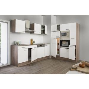 Küche Küchenzeile Küchenblock Leerblock respekta 370 cm Eiche York weiss Glanz