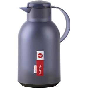 Emsa N4012000 Samba Isolierkanne (1,5 Liter, Quick Press Verschluss, 12h heiß und 24h kalt) Transluzent/Blau-Grau