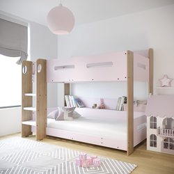 Sky Bunk Bed in Pink and Oak - Ladder Can Be Fitted Either Side!