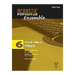 Happy  für 4 Gitarren  Partitur und Stimmen. Pharrell Williams  - Buch