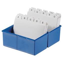 HAN A8 Karteikasten DIN A8   für 200 Karteikarten blau mit Deckel