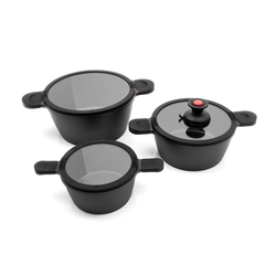 Karcher Topf-Set Toni, Aluminiumguss, (Set), mit Sauggriff schwarz Topfsets Töpfe Haushaltswaren