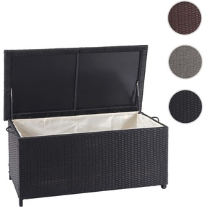 Poly-Rattan Kissenbox HWC-D88, Gartentruhe Auflagenbox Truhe ~ Premium schwarz, 51x115x59cm 250l