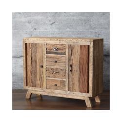 baario Sideboard Sideboard HOLIS, massiv recyceltes Altholz Treibholz Antik-Finish Design Kommode Vintage
