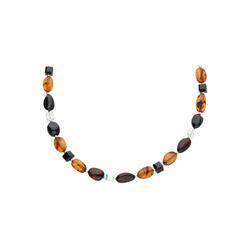 Smart Jewel Collier mit Bernstein + Kristallsteinen, Silber 925