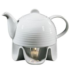 CILIO Porzellan Teekanne / Kaffeekanne mit Stövchen 1,1 Liter weiß