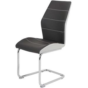 Schwingstuhl Set in dunkel Grau Kunstleder Metallgestell (Set)