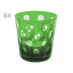 SALE 6er Set Kristallgläser Bob, grün, handgeschliffenes Glas , Höhe 8 cm, Füllmenge 0,14 Liter
