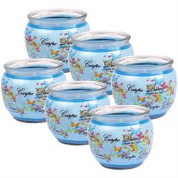HS Candle Duftkerze (6-tlg), Kerze im Glas, Spruch-Kerze 6er Pack mit ca. 22 Std. Brenndauer, Höhe: 6cm, Ø7cm blau