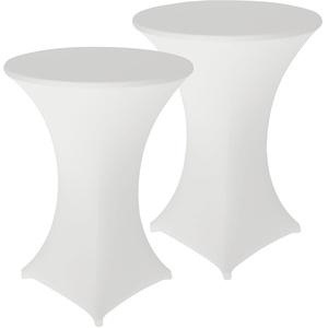 2er-Set Stretch-Stehtischhussen, OEKO-TEX® Standard 100, Ø 80 cm, weiß
