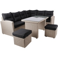 beneliving Lucca PE sand Lounge-Set inkl. Tisch