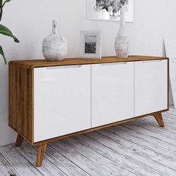 TV Sideboard in Weiß und Wildeiche modern