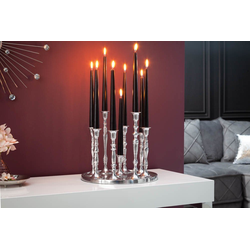 riess-ambiente Kerzenständer KERZENSTÄNDER 25cm silber (1 Stück), Metall · Kerzenhalter · Deko · Barock-Design