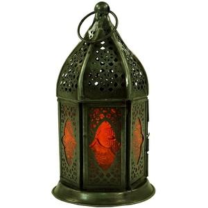 Guru-Shop Laterne Orientalische Metall/Glas Laterne in.. orange