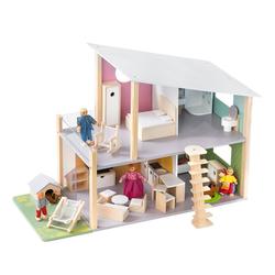howa Puppenhaus Nelly, aus Holz, inkl. 23 tlg. Möbelset, 4 Puppen und Hund