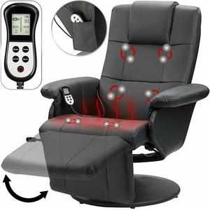 Sessel: Vibrations-Massagesessel mit Heizfunktion, Fußteil und Kopfstütze