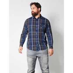 Hemd Men Plus Blau/Dunkelbraun