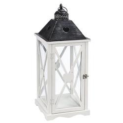 Dehner Gartenfackel Laterne Marie, Holz/Metall, weiß/schwarz 26 cm x 68 cm x 26 cm