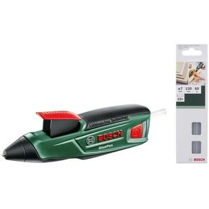 Bosch Akku-Heißklebepistole GluePen (Micro-USB Ladegerät, 4x Klebestift, Karton, 3,6 Volt System) + Bosch Klebesticks Ultra (10 Stück, 7 x 150 mm, milchig)