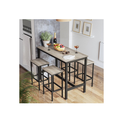 VASAGLE Bartisch LBT15X LBT015B02 (3-St), Bartisch-Set, Esstisch, 120 x 60 x 90 cm, greige-schwarz grau