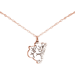 Gemshine Kette mit Anhänger KOALA Mama und Baby Bär, 925 Silber rosa
