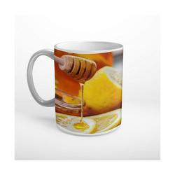 DesFoli Tasse Honig Zitronen T0603, Keramik weiß