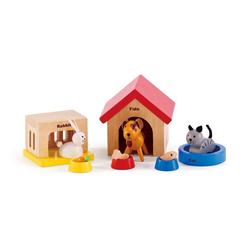 Hape Haustiere aus Holz für Puppenhaus Puppenhausmöbel (Set, 12-tlg)