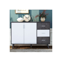 Flieks Kommode (1 St), Mehrzweckschrank Sideboard Standschrank, weiß+grau,120*35*76cm