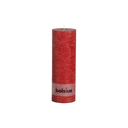 Bolsius Stumpenkerze Rustik in rot, 30 cm