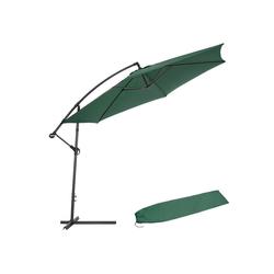 tectake Sonnenschirm Sonnenschirm Ampelschirm Ø 350cm mit Schutzhülle grün
