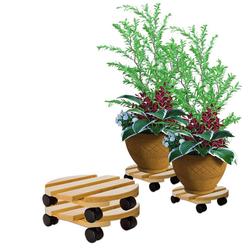 BigDean Blumentopfuntersetzer Pflanzenroller rund Buchenholz massives Holz 30 cm bis 120 Kg Rolluntersetzer, 2-tlg.