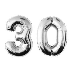 MyBeautyworld24 Folienballon Folienballon Zahlenballon in der Farbe silber Heliumballon Riesenzahl Geburtstag Deko Höhe 100 cm 30