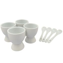 4 Eierbecher mit Löffel - Keramik Eierbecher-Set - Eierhalter