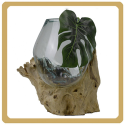 SIMANDRA Dekovase Wurzelholz (Vase Gro), GH: 23 - 27 cm, Wurzel L 25 - 30 cm B: 15 - 20 cm, Glas ø 20 - 30 cm