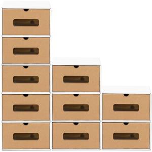 BigDean Schuhbox 10er Set braun weiß mit Sichtfenster & Schublade aus Pappe Schuhkasten Schuhkarton Aufbewahrung stapelbar